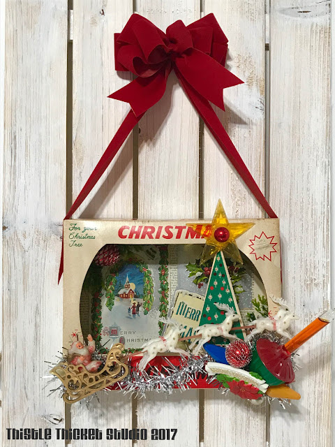 Vintage Ornament Box Diorama Decorated With Vintage Ornaments by Thistle Thicket Studio. www.thistlethicketstudio.com