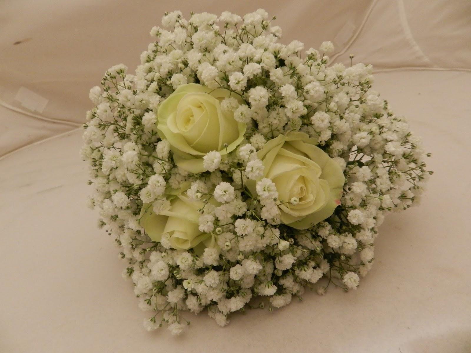 Sandras Flower Studio Ivory Roses And Gyp Wedding Flowers