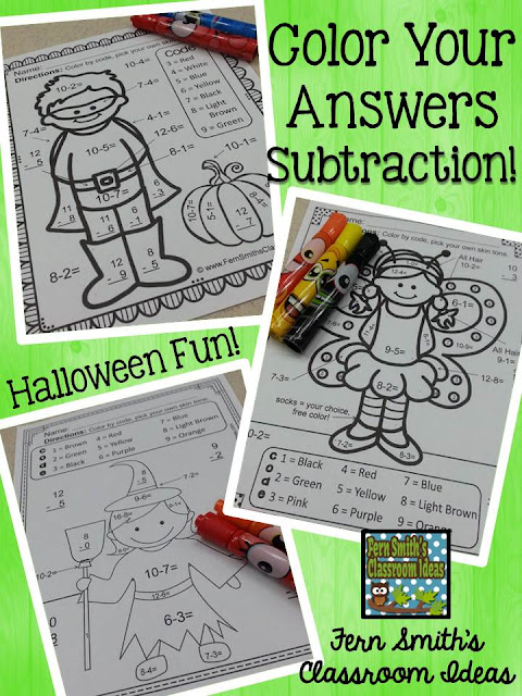 Your students will adore these FOUR Halloween Color By Number Subtraction worksheets while learning and reviewing important skills at the same time! You will love the no prep, print and go ease of these printables. As always, answer keys are included. FOUR No Prep Halloween Subtraction Printables that can be used for your math center, small group, RTI pull out, seat work or homework. Halloween Subtraction Facts - Color By Number Printables!