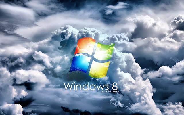 Windows 8 achtergrond met logo en wolken