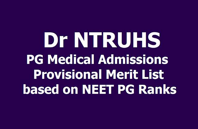 Dr NTRUHS PG Medical Admissions Provisional Merit List  based on NEET PG 2019 Ranks