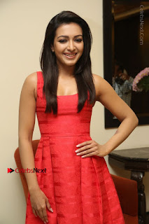 Actress Catherine Tresa Latest Pos in Red Short Dress at Intex Air Conditioners Launch  0017.jpg