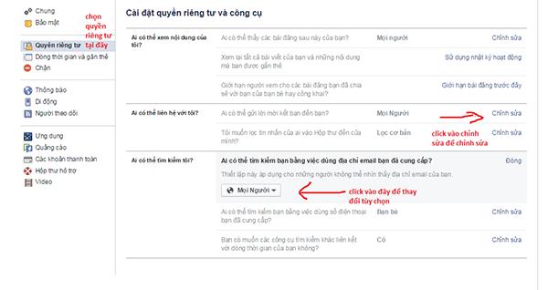 Chặn tìm kiếm tài khoản facebook bằng email