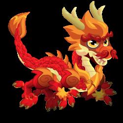 Aparência de criança Dragão Asiático Vermelho
