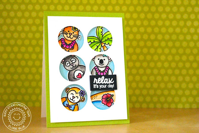 Sunny Studio Stamps: Island Window Card by Eloise Blue (using Comfy Creatures Summer Picnic, Sending My Love & Island Getaway)