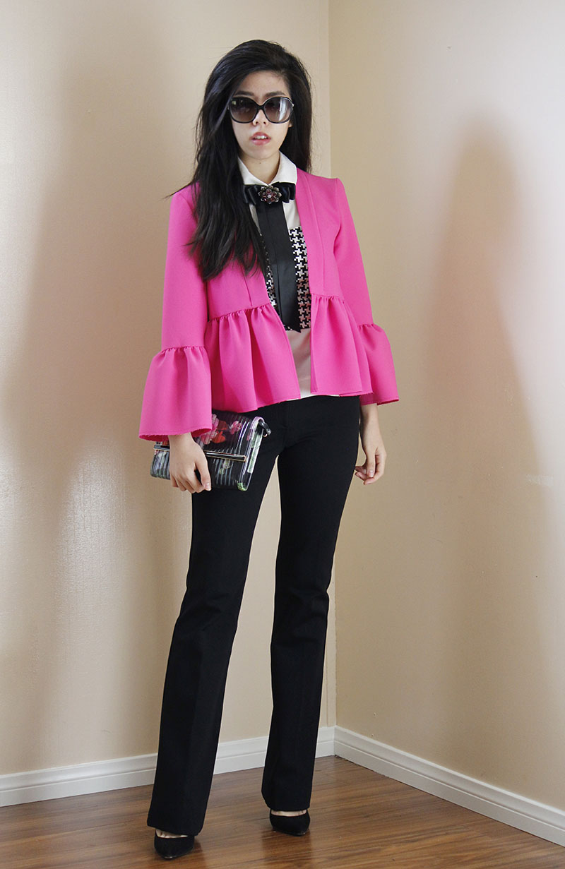 Adrienne Nguyen_Invictus_Topshop Fuchsia Bella Cropped Ruffle Jacket with Crop Top and Black Pants