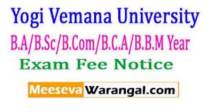 Yogi Vemana University B.A/B.Sc/B.Com/B.C.A/B.B.M Year / Sem Patt Apr-May 2017 Exam Fee Notice