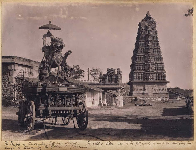The Temple in Chamundi Hill near Mysore. The gold & silver car in the foreground is used for carrying the image of Chamundi the goddess in procession - Karnataka 1895