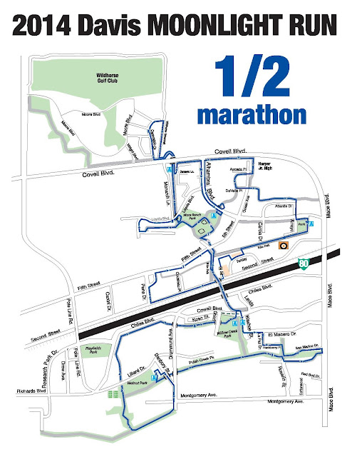 Davis Moonlight Run Half Marathon course map
