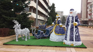 Christmas, Decorations, Yambol, City Centre, Father Christmas, Blue