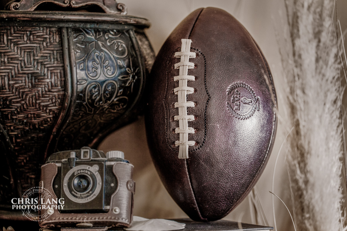 Sports memorabilia  for interior design - vintage leather football - Cowhide football - Chris Lang Photography  -  NC Commercial Photography