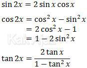 Rumus trigonometri sudut ganda, sin 2x, cos 2x, dan tan 2x