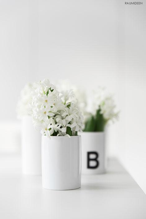 Dekoidee - Hyazinthen, kleine Blumen, kleine Vasen.