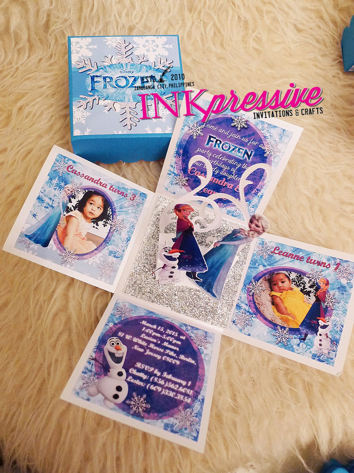 PINK FROZEN THEMED INVITATION SAMPLE LAYOUTS FOR THE EXPLODING BOX