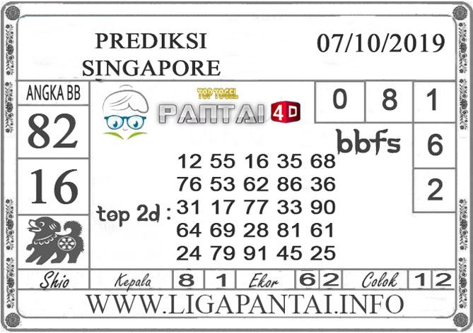 """PREDIKSI TOGEL """"SINGAPORE"""" PANTAI4D 07 OKTOBER 2019"""