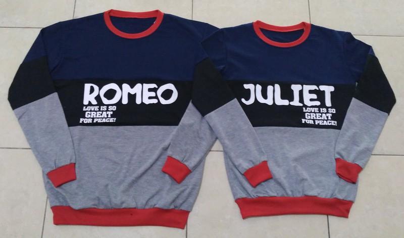 Jual Online Sweater Romeo Juliet Navy Couple Murah Jakarta Bahan Babytery Terbaru