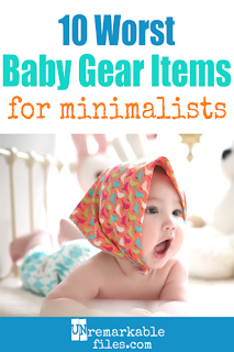 Did you know that these 10 common baby products are actually completely unnecessary? Trust me, I've raised 6 children without this baby stuff and never regretted it. #minimalist #baby #tips