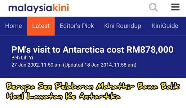 Berapa Sen Pelaburan Mahathir Bawa Balik Hasil Lawatan Ke Antartika Dengan Belanja RM878,000 Ribu