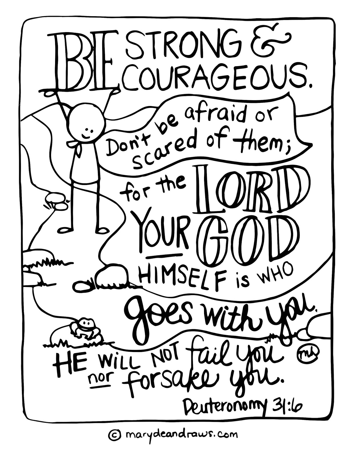 Wrestling Fears And Finding Peace Strong And Courageous Deuteronomy 31 6 Printable Coloring