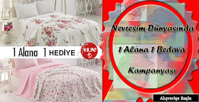 Fixeline by Cotton Box 1 Alana 1 Bedava Çift Kişilik Tek Pike Elena Somon - Angel Pembe