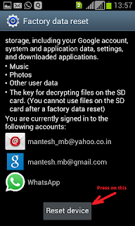 How to do factory data reset on android phone