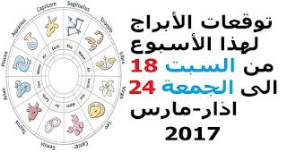 توقعات الأبراج لهذا الأسبوع من السبت 18 الى الجمعة 24 اذار-مارس 2017