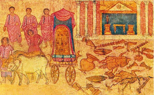 Afresco da captividade da Arca nas mãos dos Filisteus. Na sinagoga de Dura-Europos