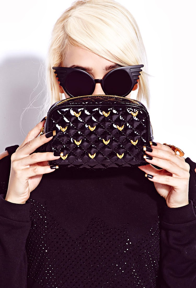 Quilted Studded Cosmetic Bag