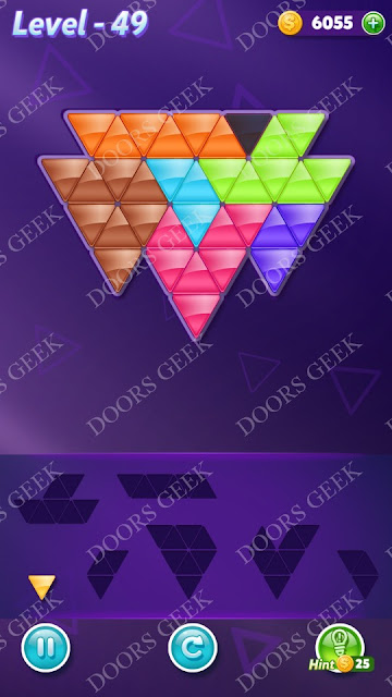 Block! Triangle Puzzle Advanced Level 49 Solution, Cheats, Walkthrough for Android, iPhone, iPad and iPod