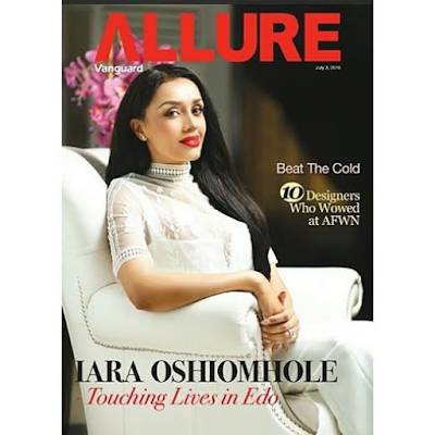 Beautiful Edo state first lady, Iara Oshiomole, graces the cover of this week's Vanguard Allure