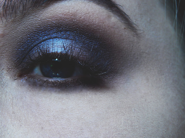 A dark smokey eye with a hint of purple