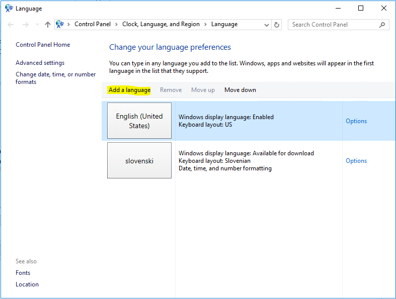 Exchange Admin Center language