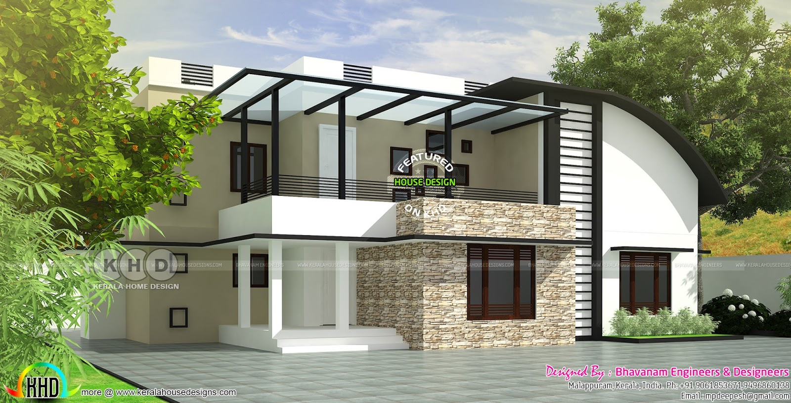4 Bedroom Curved Roof Mix Contemporary Home Part - 47: Curved Roof Mix Modern House Plan Kerala Home Design Bloglovin