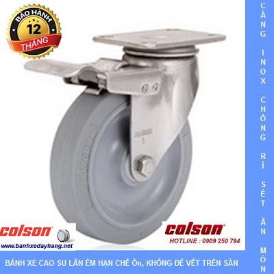 Bánh xe cao su Performa, càng bánh xe inox xoay khóa chịu tải (90 - 136 kg)  www.banhxepu.net