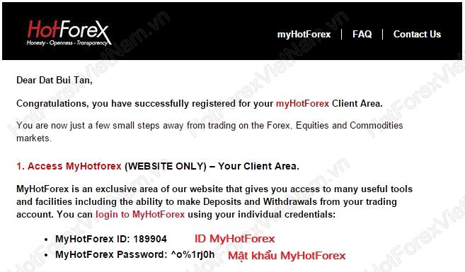 Thông tin đăng nhập MyHotForex