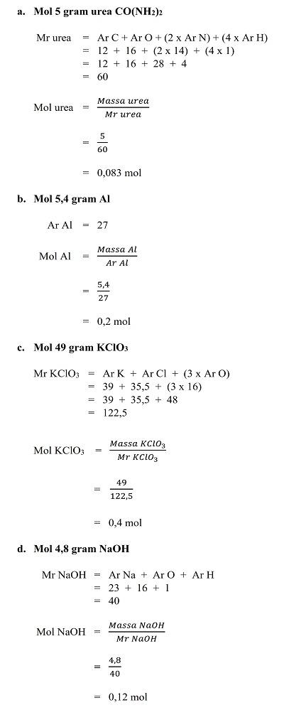 Contoh Soal Dan Pembahasan Konsep Mol Chemistry Is Fun