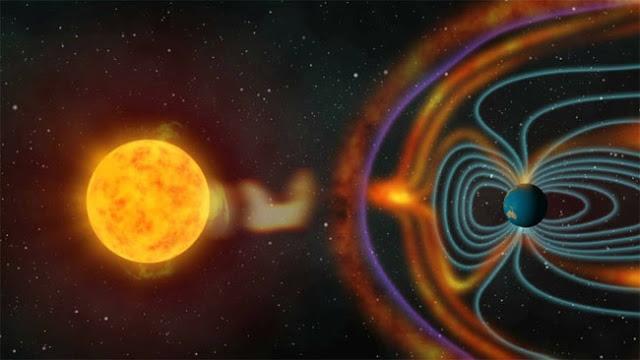 campo magnético da Terra interagindo com vento solar