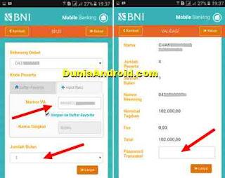 BNI MOBILE BANKING untuk bayar BPJS