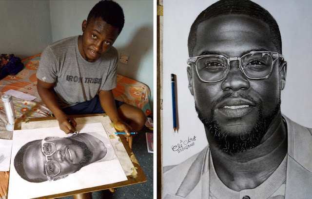 Kevin Heart buys his hyperrealism portrait from struggling Nigerian artist
