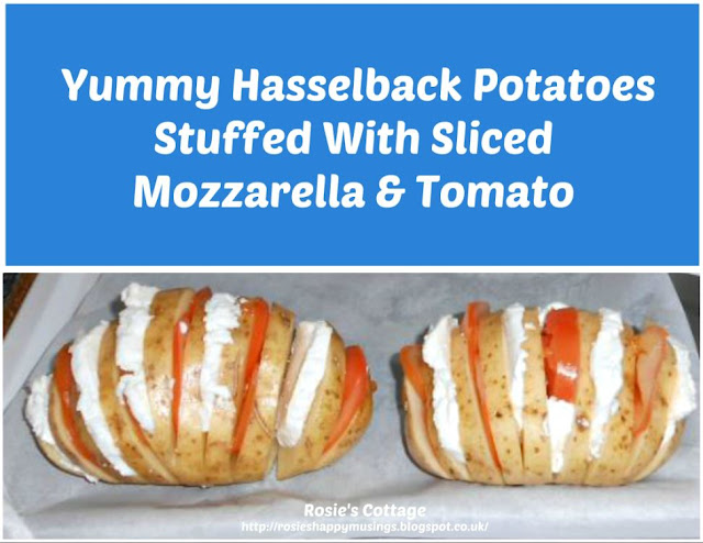 Yummy Hasselback Potatoes Stuffed With Sliced Mozzarella & Tomato.