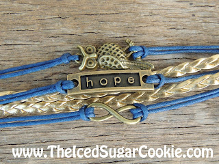 Blue And Gold Owl Hope Infinity Sign Leather Bracelet by The Iced Sugar Cookie