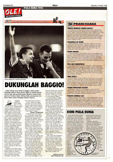 ROBERTO BAGGIO ITALIA WORLD CUP 1998