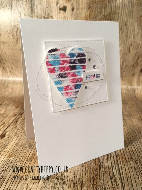 How to make a gorgeous heart greetings card using the Babywipe technique and the Heart Happiness Stamp Set from Stampin' Up!