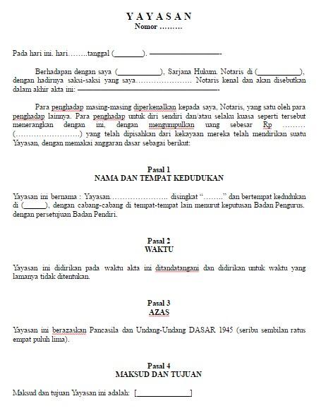 Download Contoh Format Surat Akta Pendirian Yayasan Baru File Word