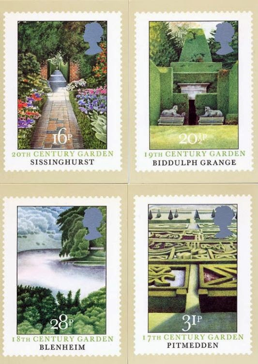 Four stamp postcards showing gardens of stately homes