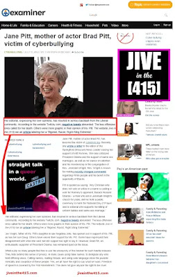 Examiner.com screenshot of full page news story about Jane Pitt and Jive in the (415)  jiveinthe415.com