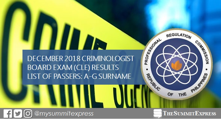 A-G Passers: December 2018 Criminologist board exam CLE result