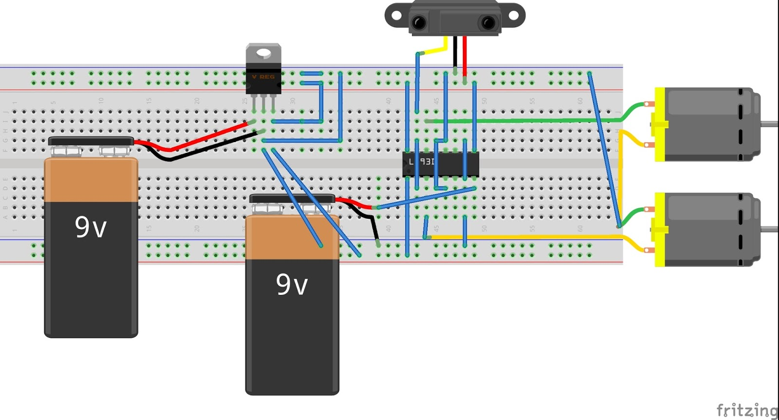 Simple Line Follower Robot Circuit On Breadboard Modern Design Of Robotic Diagram Wiring