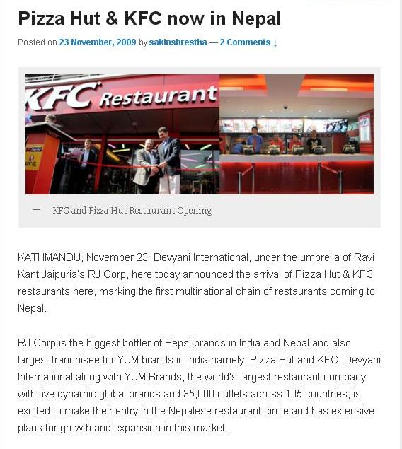 KFC and Pizza Hut outlets in Kathmandu have now indefinitely