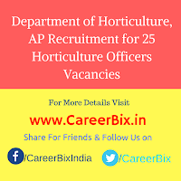 Department of Horticulture, AP Recruitment for 25 Horticulture Officers Vacancies